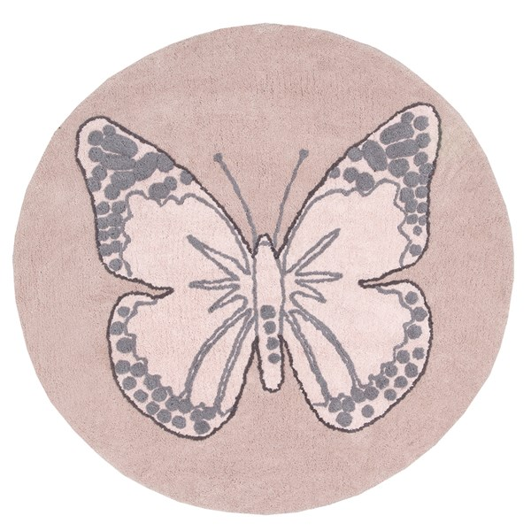 Butterfly Round Kids Washable Rug by Lorena Canals
