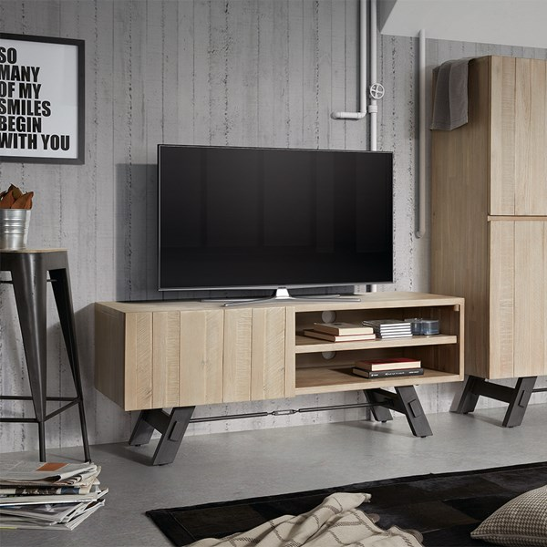 Industrial Wooden TV Unit