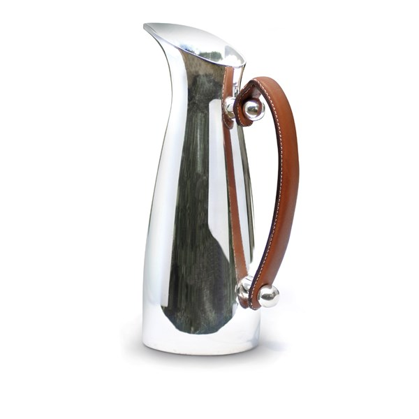 Silver Plated Water Pitcher with Leather Handles (1.4 litres)