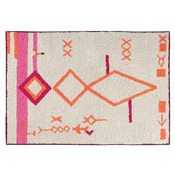 Pink Orange and Cream Washable Kids Rug