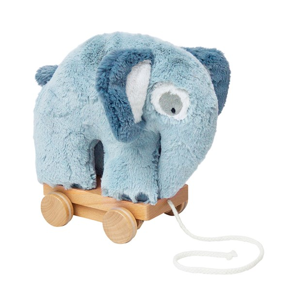 Sebra Pull Along Elephant Soft Toy in Cloud Blue