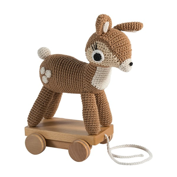 Sebra Crochet Pull Along Deer Toy