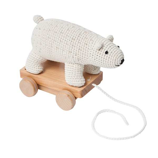 Sebra Crochet Pull Along Polar Bear Toy