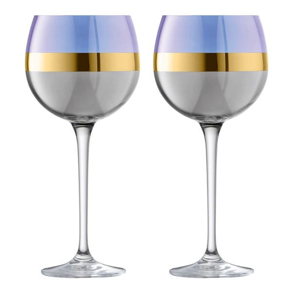 LSA International Bangle Balloon Wine Glasses Blueberry