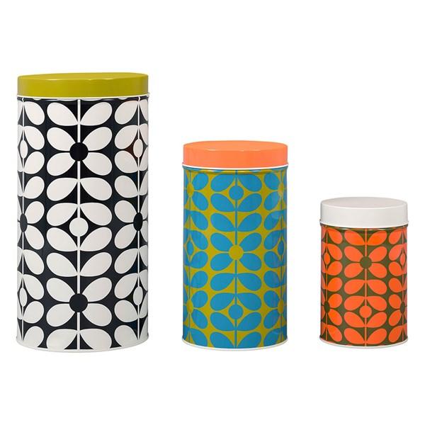 Orla Kiely Set of 3 Nesting Storage Canister Tins in 60s Stem