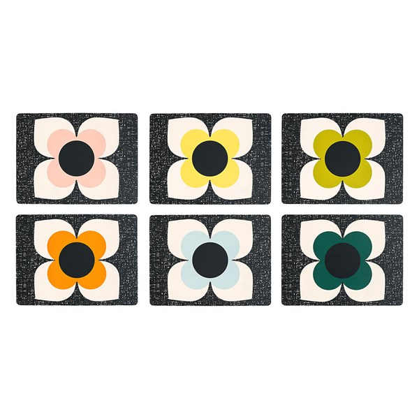 Retro Style Table Mats in Scribble Square Flower Design