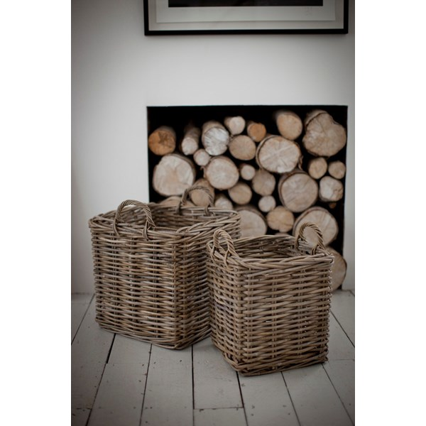A set of Square Log Baskets in Rattan