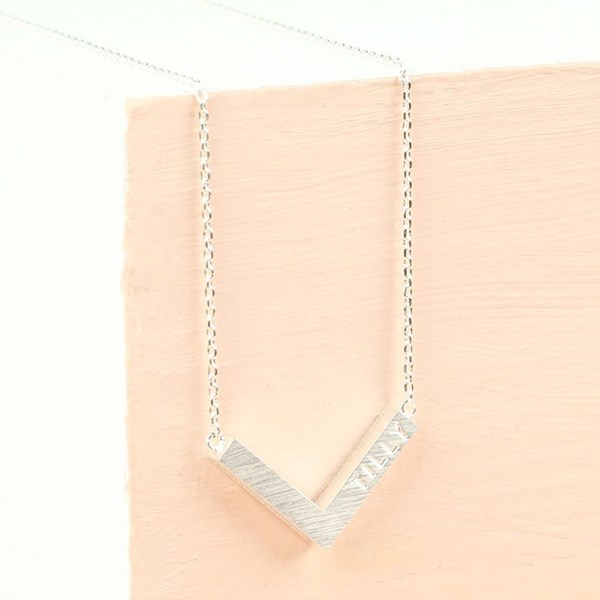 Personalised Small Chevron Necklace in Silver