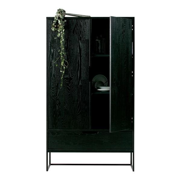 Silas Oak 2 Door Cabinet in Black Night by Woood