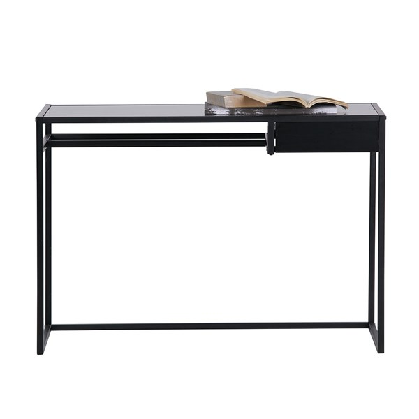 Teun Black Metal Desk with Drawer by Woood
