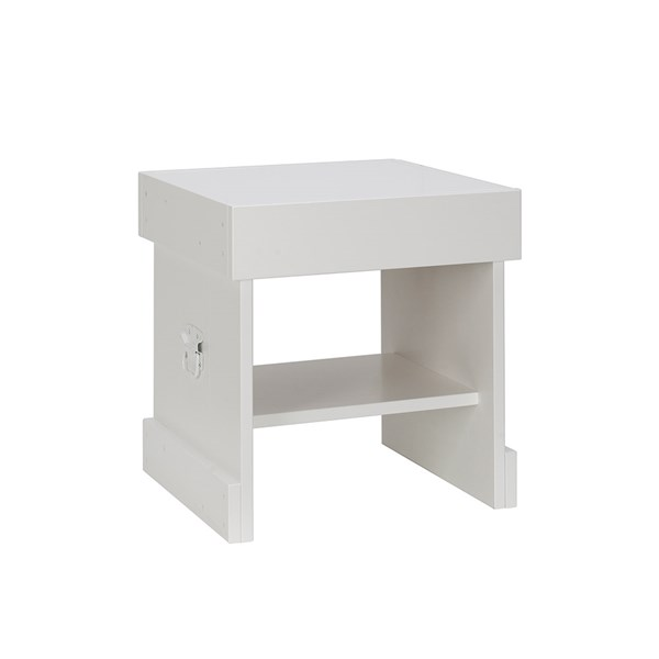 Rough Small Bedside Table in White
