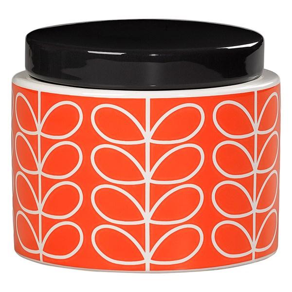 Orla Kiely Ceramic Small Storage Jar in Linear Stem Persimmon Orange Print