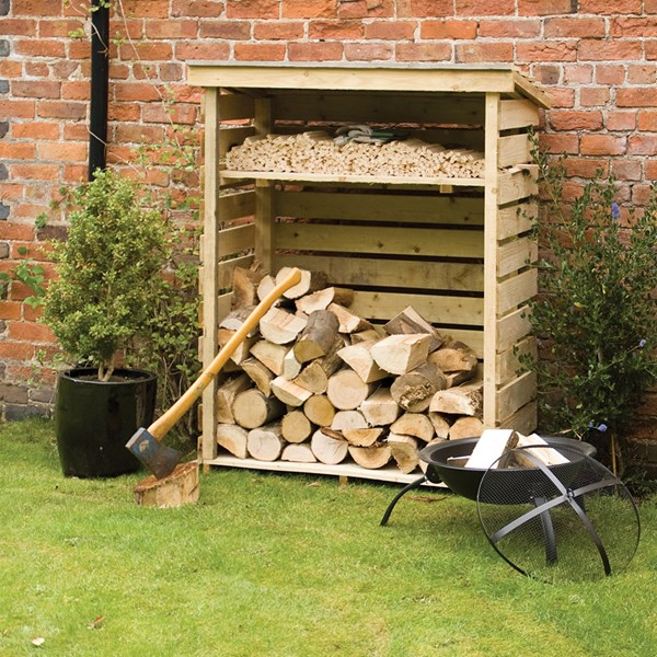 Rowlinson Small Garden Log Store in Natural Timber
