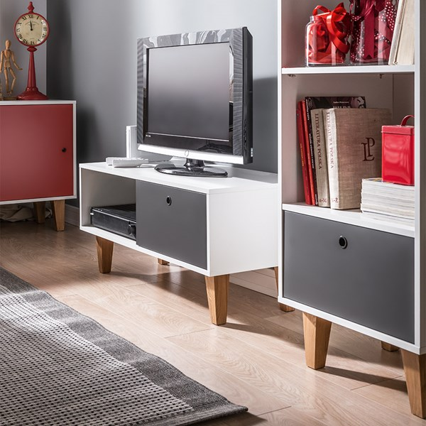 Unique Concept TV Stand in White & Grey