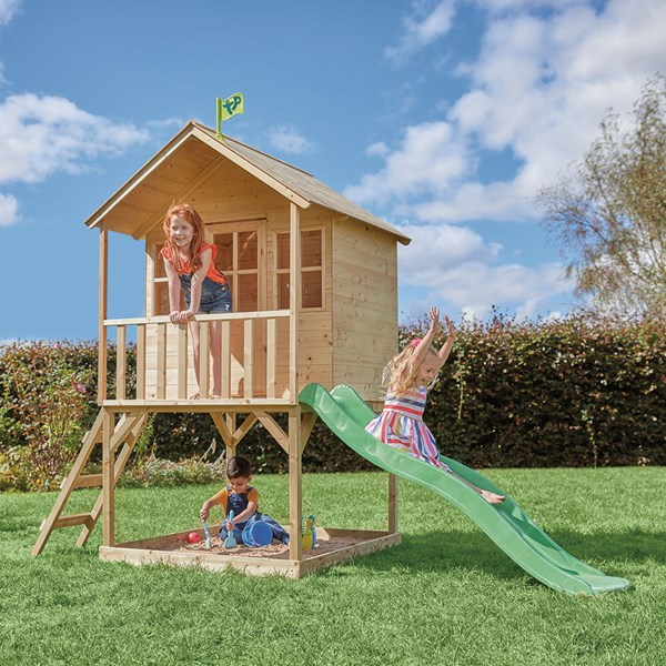 TP Toys Hill Top Wooden Tower Playhouse with Slide