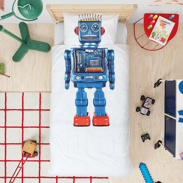 Snurk Single Robot Duvet Bedding Set