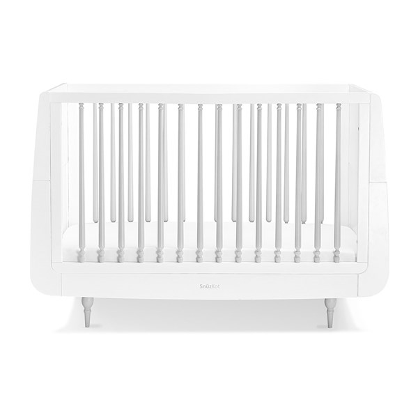 Grey and White Beech Wood Baby Cot