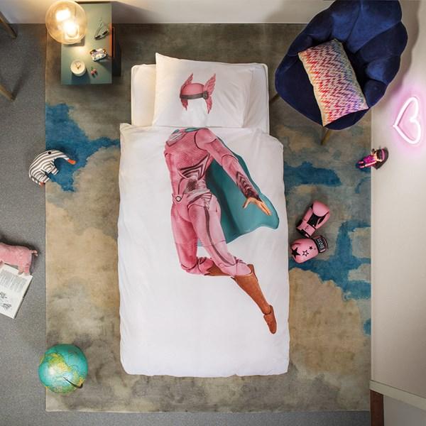 SNURK Childrens Superhero Duvet Bedding Set in Pink