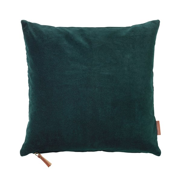 Soft Cotton Velvet Cushion in Deep Forrest