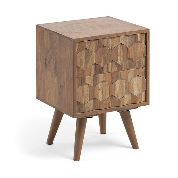 Image Acacia Bedside Table with Carved Front by La Forma