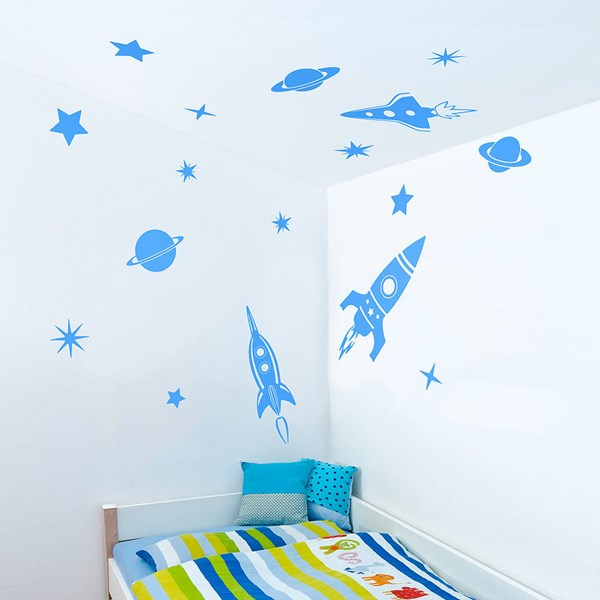 SPACE ROCKETS WALL STICKERS in Blue