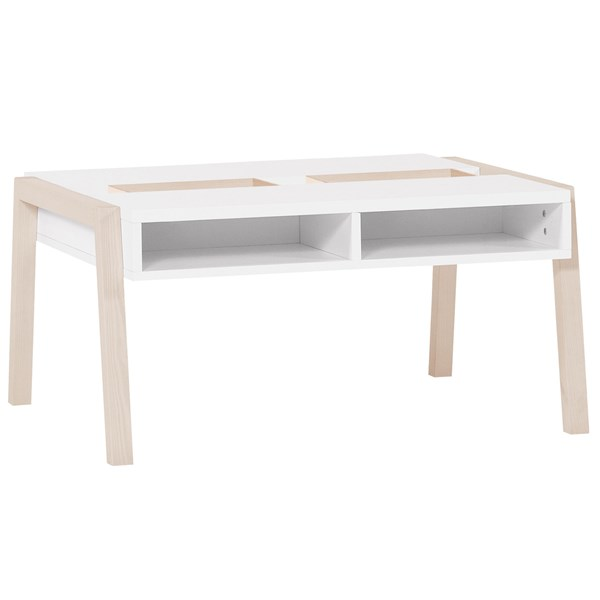 Spot Coffee Table with Storage in Acacia and White