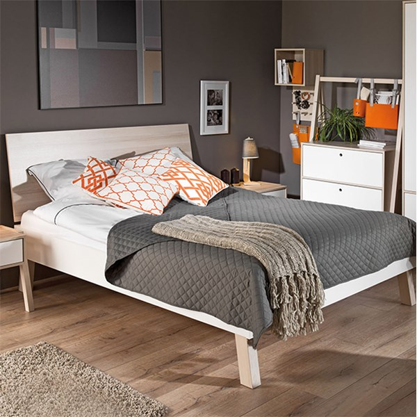 Spot Double Bed in White and Acacia