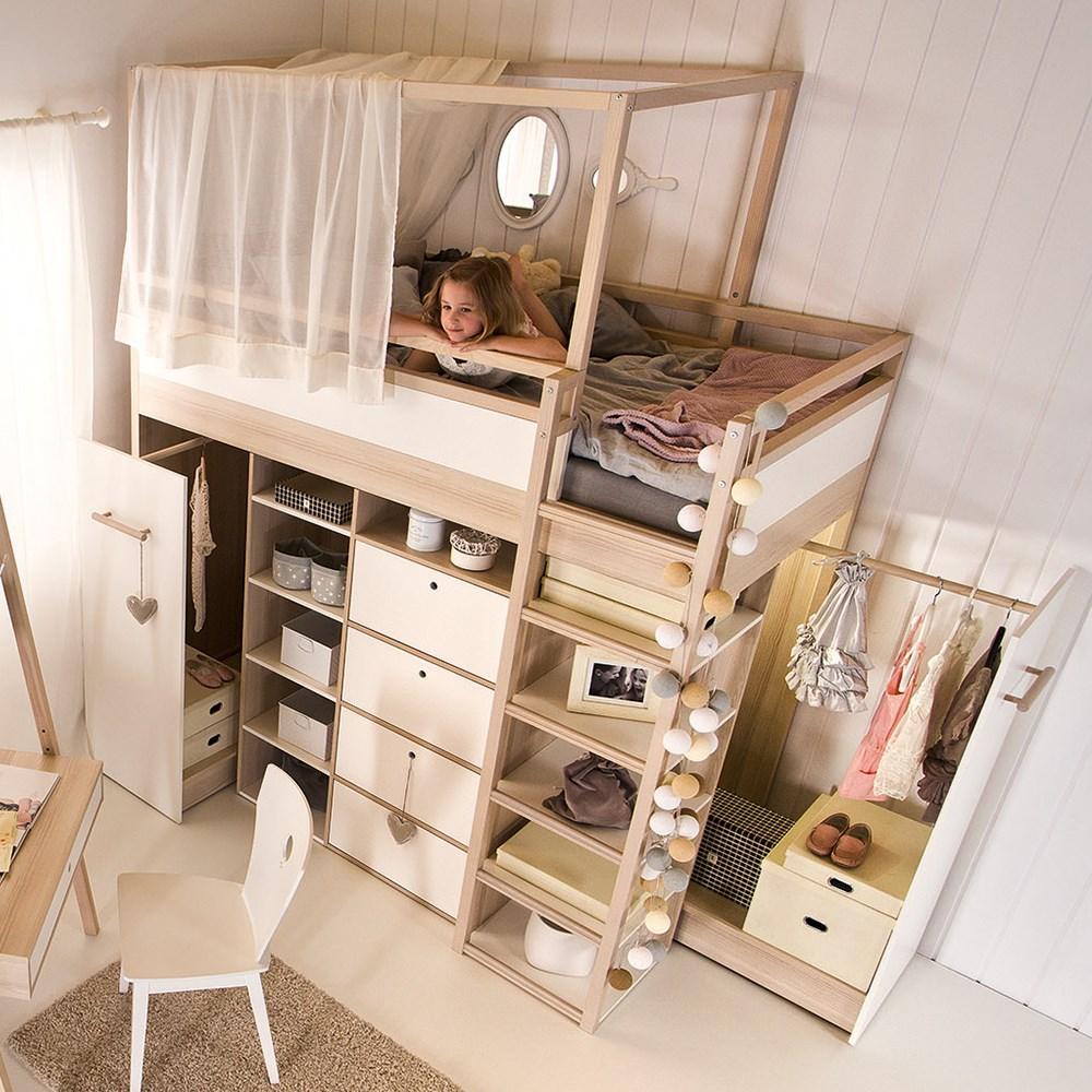 Vox Spot High Sleeper Storage Kids Bed In Acacia & White - Vox   Cuckooland