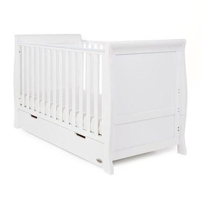 - Obaby Stamford Sleigh Cot Bed In White - Obaby Cuckooland