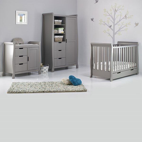 Stamford Mini Cot Bed 3 Piece Nursery Set in Taupe Grey by Obaby