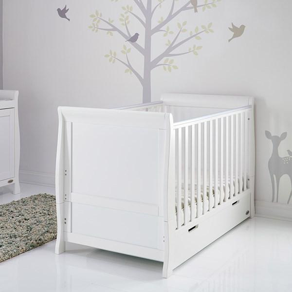 Stamford Sleigh Cot Bed in White by Obaby
