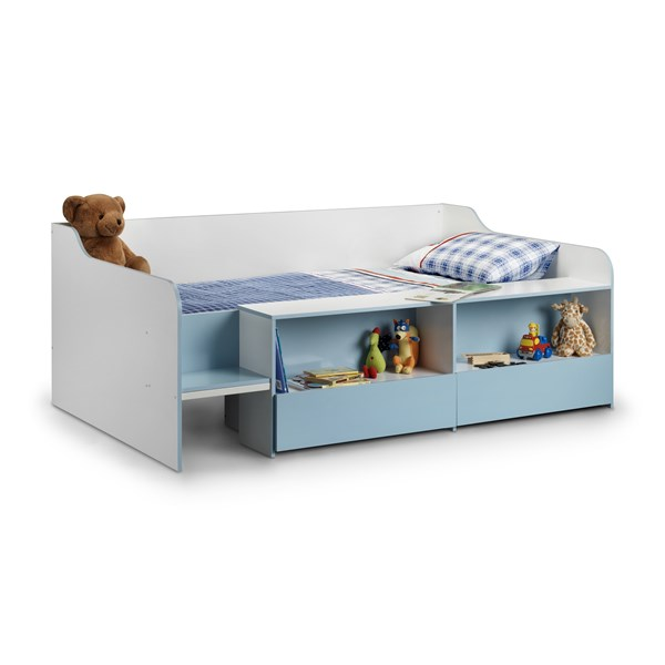 low childrens bed in blue for boys