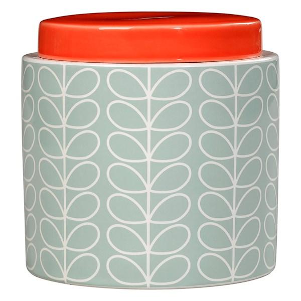 Orla Kiely Ceramic 1L Storage Jar in Linear Stem Duck Egg Blue Print