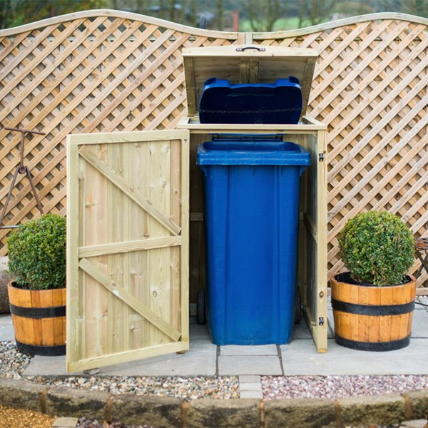 Single Wooden Wheelie Bin Storage