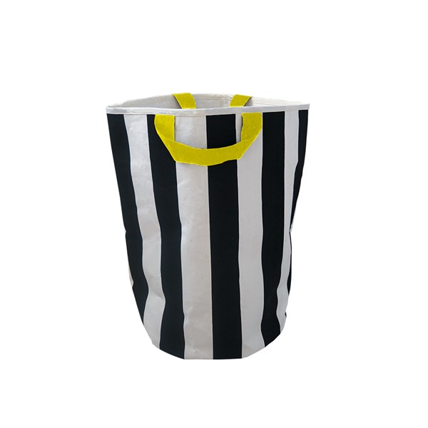 Black and White Striped Cotton Canvas Toy Bag for Kids
