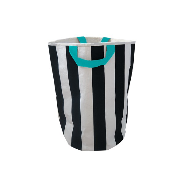 Wildfire Kids Toy Storage Bag in Stripes with Seafoam Handle