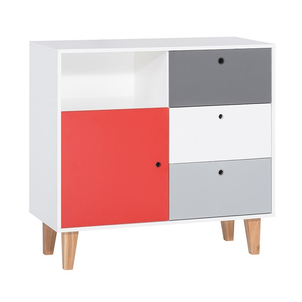 Vox Concept Chest of Drawers in Grey & Red
