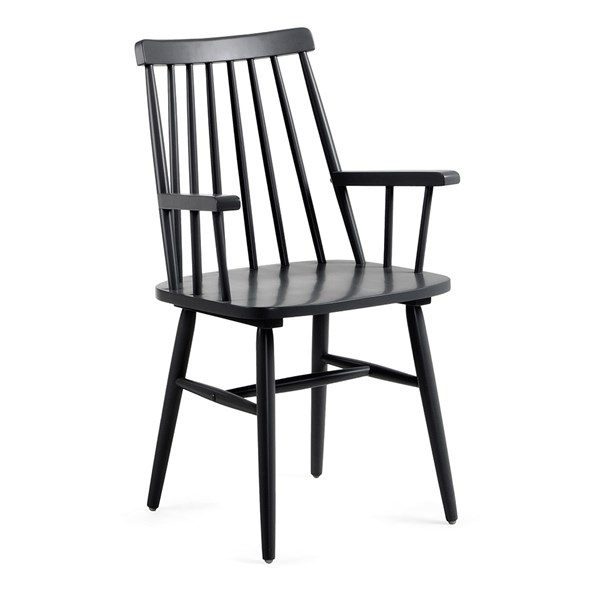 Pair of Kristie Wooden Spindle Back Armchairs in Black