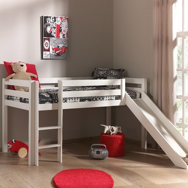 Pino Kids Mid Sleeper with Slide in White