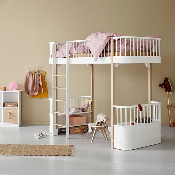 Oliver Furniture Wood Children's High Loft Bed in White & Oak