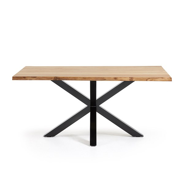Arya Cross Leg Dining Table in Black and Oak