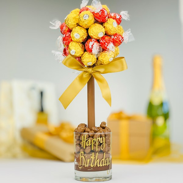 Personalised Ferrero & Lindor Chocolate Sweet Tree