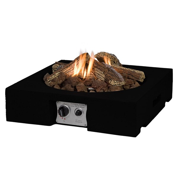 Square Table Top Cocoon Gas Fire Pit in Black