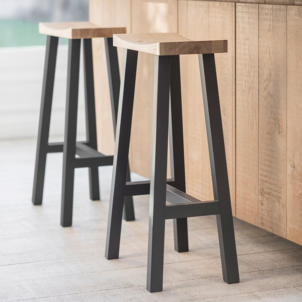 Garden Trading Tall Clockhouse Stool in Carbon and Oak