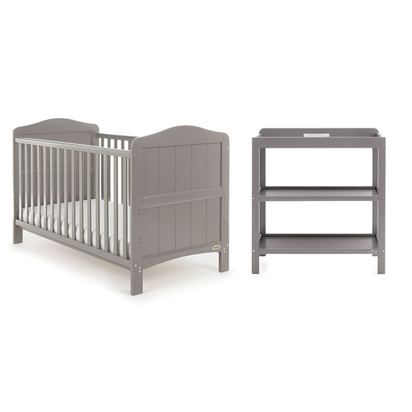Obaby Whitby Cot Bed 2 Piece Nursery Set in Taupe Grey