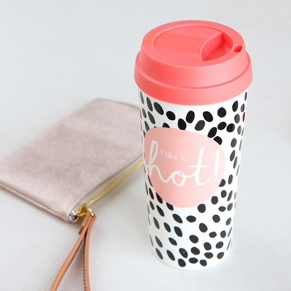 Caroline Gardner Thermal Travel Mug in Dalmation Spot