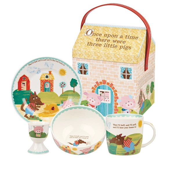 Three Little Pigs 4 Piece Breakfast Set with Gift Box