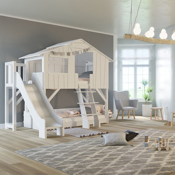 Mathy by Bols Treehouse Bunk Bed with Platform & Slide in White