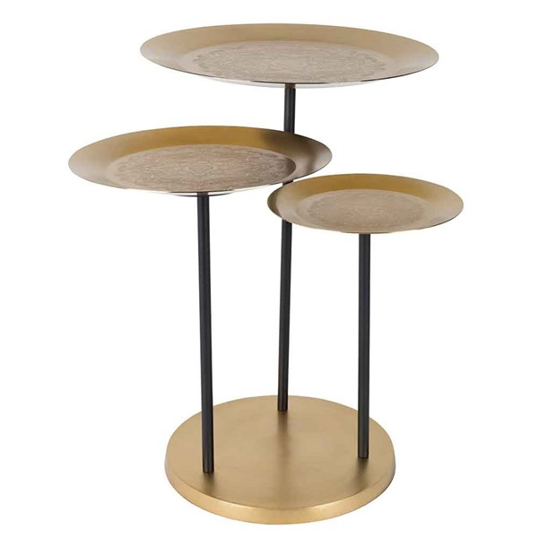 Trio of Side Tables with Engraved Pattern