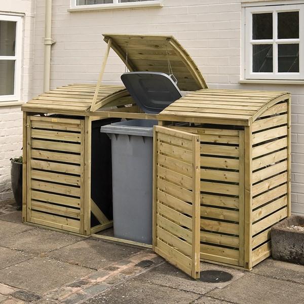 Rowlinson Wooden Triple Wheelie Bin Storage in Natural Timber